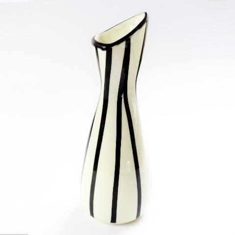 1950s Black And White Striped Rose Bud Vase