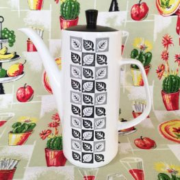 retro coffee pot leaf pattern