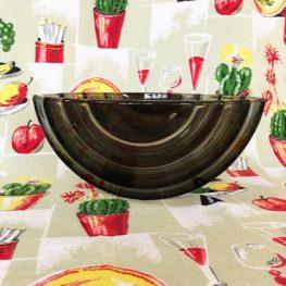 art deco mid century smoked glass bowl