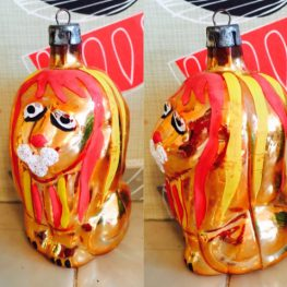 Glass lion Christmas Decoration