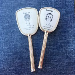 retro 1970s Love Is brush and mirror set
